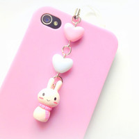 Winter White Bunny Dust Plug, White Rabbit Phone Charm, Pastel Heart Bead, Kawaii Bunny Charm, Cute, Earphone Jack, Nintendo 3DS, Ps Vita