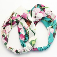 1 Pc Fashion Women Elastic Turban Twisted Knotted Headband Ethnic Floral Wide Stretch Cross Knot Hair Bands Accessories