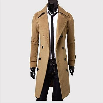 2017 New Autumn Winter Wool Coat Double Breasted Slim Fit Trench Coat Long Section Overcoat Casual Pea Coat For Men M-4XL