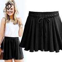 New Arrival Women Summer Skirts New Fashion Straight Drawstring Straight Shorts Skirts Female Casual Hot Bottom Skorts T81318L