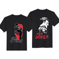 "Couple Love T-Shirts with Sayings ""His Harley"" & ""Her Joker"""