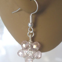 Handmade Silver Pale Pink Faceted Glass Wire Wrapped Pentagram Earrings. Pentacle Earrings, Wiccan Jewelry, Pagan Symbol