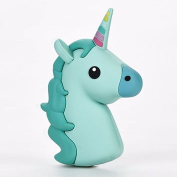 Kawaii Green Unicorn Emoji Portable Powerbank Charger for iPhone & Android
