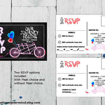DIY RSVP Postcard Template, Digital Download, Editable Printable, Instant Download, Chalkboard Tandem Bicycle for Two, #1CM82-1