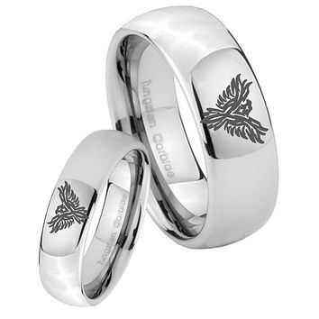 His Her Classic Mirror Dome Phoenix Tungsten Carbide Silver Rings Set