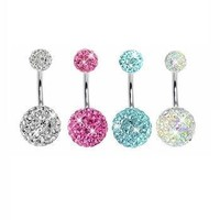 4 Pieces Belly Ring Disco Ball Piercing 14G (1.6mm)