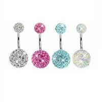 Lot of 4 Pieces Belly Button Ring Crystal Stones Double Gem With Belly Retainer 14G