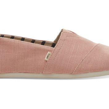 TOMS - Venice Collection Coral Pink Canvas Men's Classics Slip-Ons