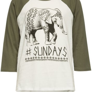 Full Tilt #Sundays Elephant Girls Raglan Tee Olive Combo  In Sizes