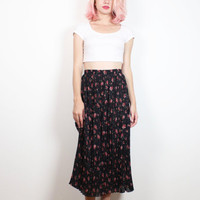 Vintage 1990s Skirt Black Pin Pleated Liberty Ditsy Floral Print Midi Skirt 90s Skirt Soft Grunge Skirt Dark Soft Goth Knee Length S Small M
