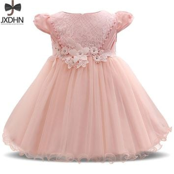 Flower 1 Year Baby Girl Birthday Dress Infant Party Dress For Girl Tutu Outfit Little Baby Child Prom Gown Designs Kids Clothes