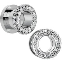00 Gauge Clear Gem Steel Double Row Screw Fit Tunnel Plug Set