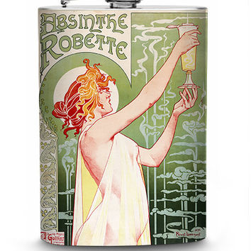 Absinthe Robette Vintage Liquor Label Stainless Steel 8oz Hip Flask French Liquer Retro