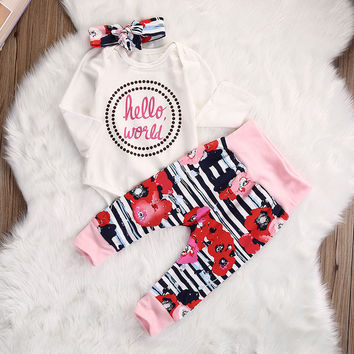 Cotton Baby Rompers Autumn Long Sleeve Baby Wear Infant Jumpsuit + Pants + Headband Boys Girls Clothes Roupas De Bebe Infantil