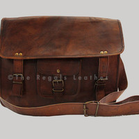 Leather messenger bag (13 - 15 inch) Crossbody Messenger bag  satchel bag  shoulder bag Designer bag for gift
