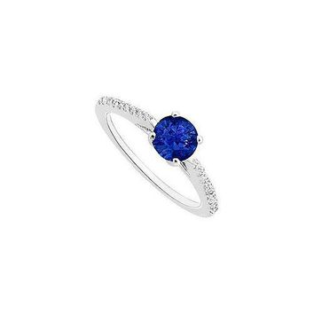 Sapphire and Diamond Engagement Ring : 14K White Gold - 0.50 CT TGW