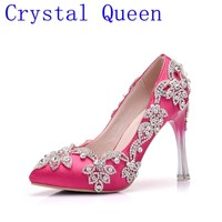 Crystal Queen Fashion Rhinestone Pumps Heels Wedding Shoes For Women White Platform Wedges High Heels Wedding Shoes