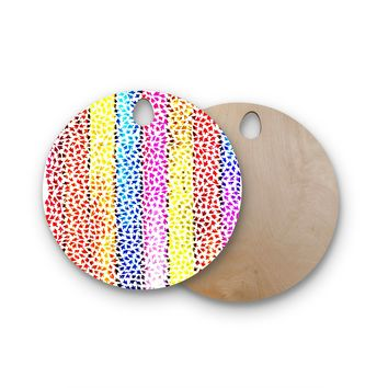 "Sreetama Ray ""Rainbow Arrows"" Multicolor Round Wooden Cutting Board"