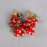 60s Red Berry Clip EARRINGS / Green LEAVES, Gold Hardware
