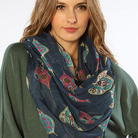 The Leaf it to Me Scarf in Navy