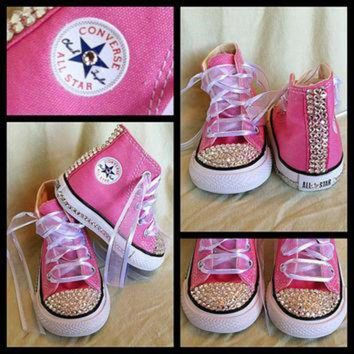 CREYUG7 Pink Blinged Out Chuck Taylor Converse Sneakers