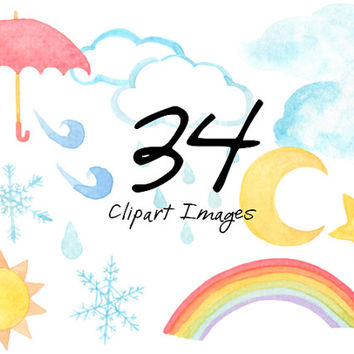 Weather Watercolor Clip Arts Scrapbooking Digital Files Baby Shower Birthday Party Nursery Rainbow Clipart Snowflake Download printable
