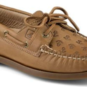Sperry Top-Sider Authentic Original Anchor Embossed 2-Eye Boat Shoe SaharaEmbossedAnchors, Size 8.5M  Women's Shoes