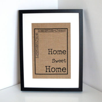 Personalized Burlap Wall Art- Home Sweet Home Print Hessian Wall Decor