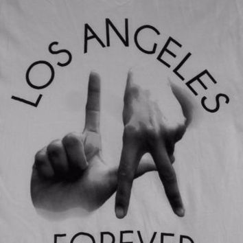 LA Hands Gang Sign T-Shirt Los Angeles Forever California T-Shirt White Size M