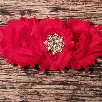 Red Shabby Rhinestone and Lace Headband - Baby Girl Headbands - Baby Headbands - Baby Bows - Red Headbands - Infant - Toddler - Girls Bows