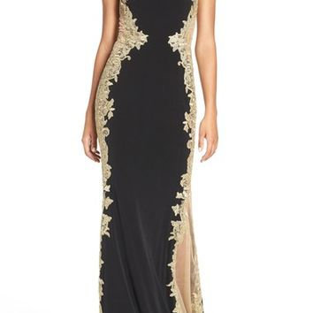 JVN by Jovani Mixed Media Column Gown   Nordstrom