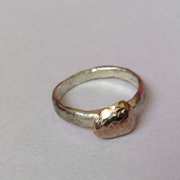 Silver and Gold Hammered Pebble Ring - Recycled - Made to order in your size