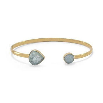 Rough Cut Aquamarine Open Cuff Bracelet in 14K Gold Plated Sterling Silver