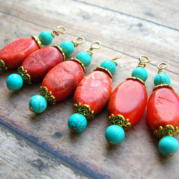 Coral Bead Drops, Coral Earrings Dangles, Wire Wrapped Bead Drops