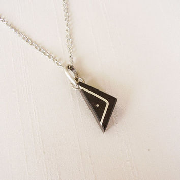SALE - Triangle Geometric wood pendant in Ebony and Sterling Silver, silver plated chain - Women or Men Necklace - Black and silver