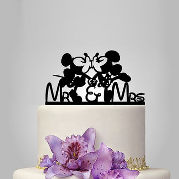 Mickey and Minnie mouse Wedding cake topper, mr and mrs wedding cake topper , acrylic wedding cke topper, disney wedding cake topper