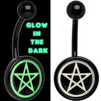 Black Titanium Magic Pentagram Glow in the Dark Belly Ring | Body Candy Body Jewelry