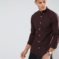 Selected Homme Slim Oxford Shirt With Embroidered Badge at asos.com