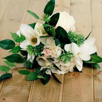 Magnolia Silk Wedding Bouquet with Hydrangea, Roses and Calla Lilly