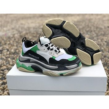 Balenciaga Triple S Trainers Green/Black/White Sneakers 36-44