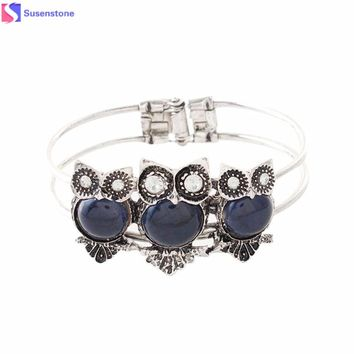 Owl bracelet Bohemian Style Retro Cute Owl Plating Lady Bracelet with Colorful stones