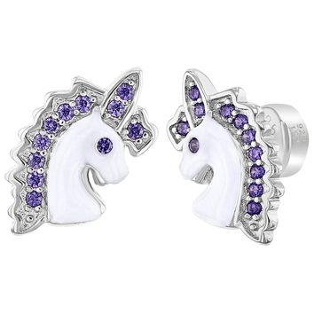 925 Sterling Silver Purple CZ Unicorn Push Safety Back Earrings for Girls