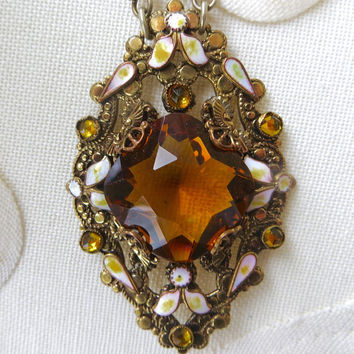 Art Deco Czech Necklace, Neiger Dot and Leaf Enamel. Amber Bohemian Glass w/Rhinestones, Vintage Pendant Necklace