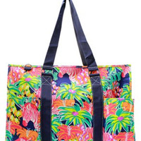 Utility Tote Multi-Pocket - Lilly Inspired Print