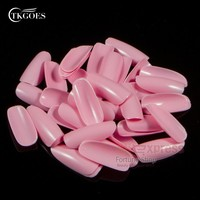 TKGOES 500 Oval Pink Nail Tips Round Fullwell Color Acrylic Fake Nail Tips Ellipse False Nail Art Tips Retail YWH028