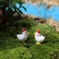 2pcs/1pair Mini Animals Resin Craft Cock Chicken Combination Bonsai Figurine Fairy Garden Miniatures Ornaments Garden Decoration