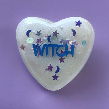Iridescent Resin Witch Heart Lapel Pin Halloween Kawaii Creepy Cute Goth Indie Pastel Magical Girl