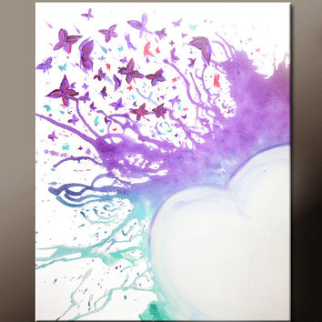 Abstract Canvas Art 18x24 Original Contemporary Modern Art Paintings by Destiny Womack - dWo -  You Give Me Butterflies