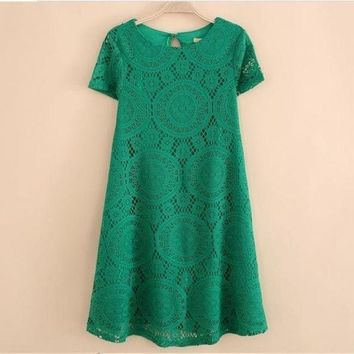 CREYUG3 Ladies Vintage Bohemian Short Sleeve Lace Dress Bottoming Dress Loose Plus Size S-XXXXL = 1928878148