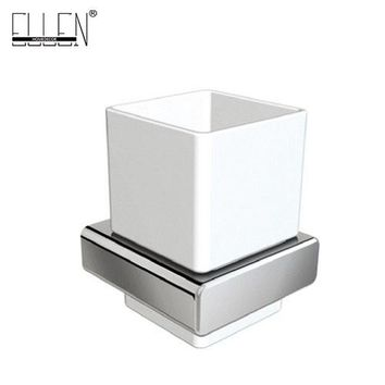 Square Toothbrush Holder Bathroom Accessories tumble holder tooth brush holder in Brass Chrome with Ceramics Cup EL81884